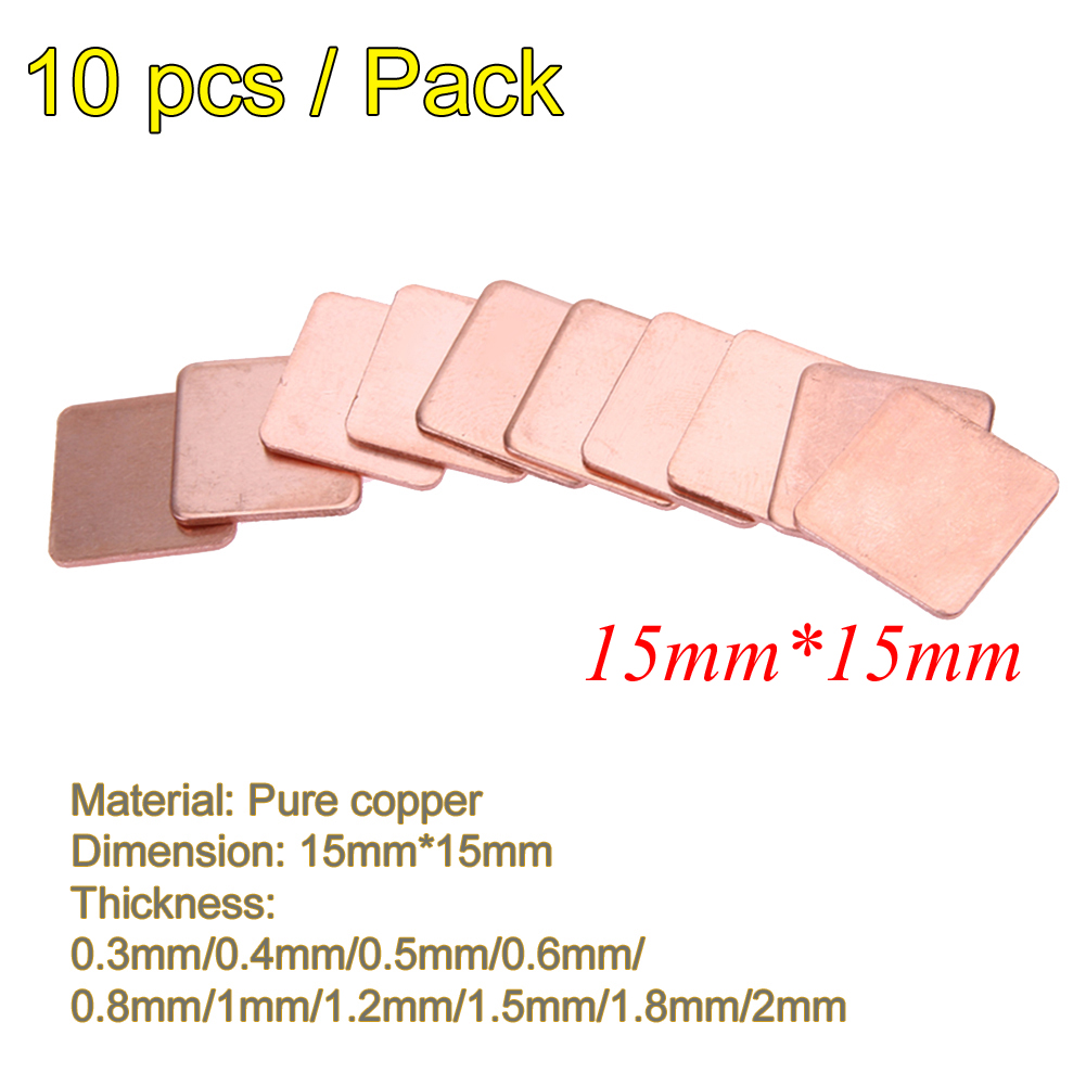 10Pcs 15*15mm 0.3/0.4/0.5/0.8/1.2/1.5/1.8/2 Thickness Heatsink Copper Shim Thermal Pads Heat Sink For Laptop IC Chipset GPU CPU