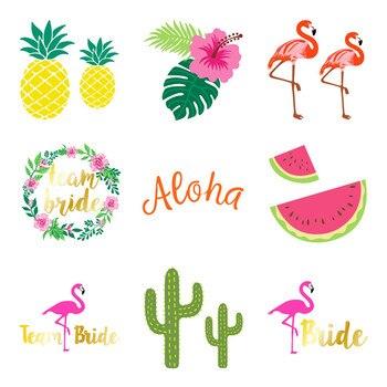 Decoración Para fiesta de despedida de soltera equipo novia a ser flamenco tatuaje pegatina despedida de soltera Hawaii playa suministros y decoraciones para fiestas