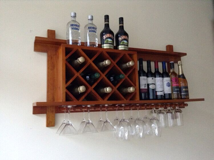 Wall Mounted Wood Wine Rack Hanging Bar Creative Fashion Plaid Cafe Sets Display Cabinets In Cabinet Hinges From Home Improvement On