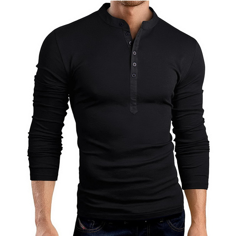 3e6a7a49ffd1 HEFLASHOR 2018 Autumn Button T Shirt Men Long Sleeve V neck Tee&Tops Fashion  Design Solid Slim Fit Clothing Male Brand New Tops