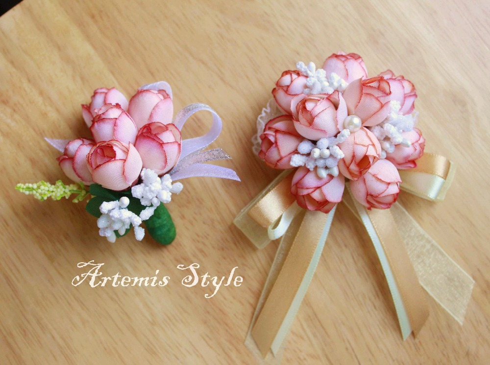 Small Chocolate Pink Rose Buds Boutonniere Wedding Decoration ...