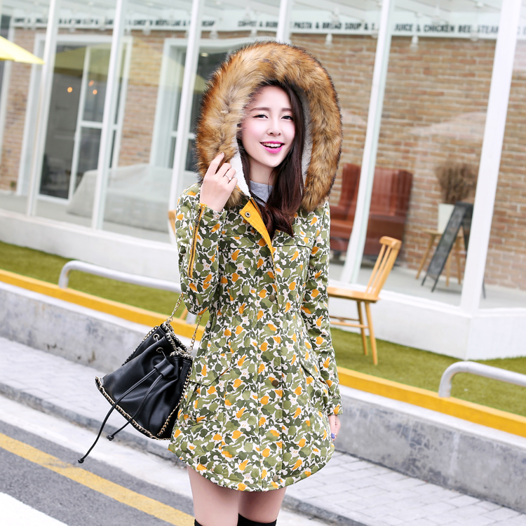 New 2015 Women Winter Coat Wadded Jacket Medium-Long Plus Size 2XL Parka Faux Fur Collar Thickening Hood Parkas Snow Wear H5511 new 2015 autumn winter outdoors medium long fleece jacket fur hooded army green parka men thickening coat 10