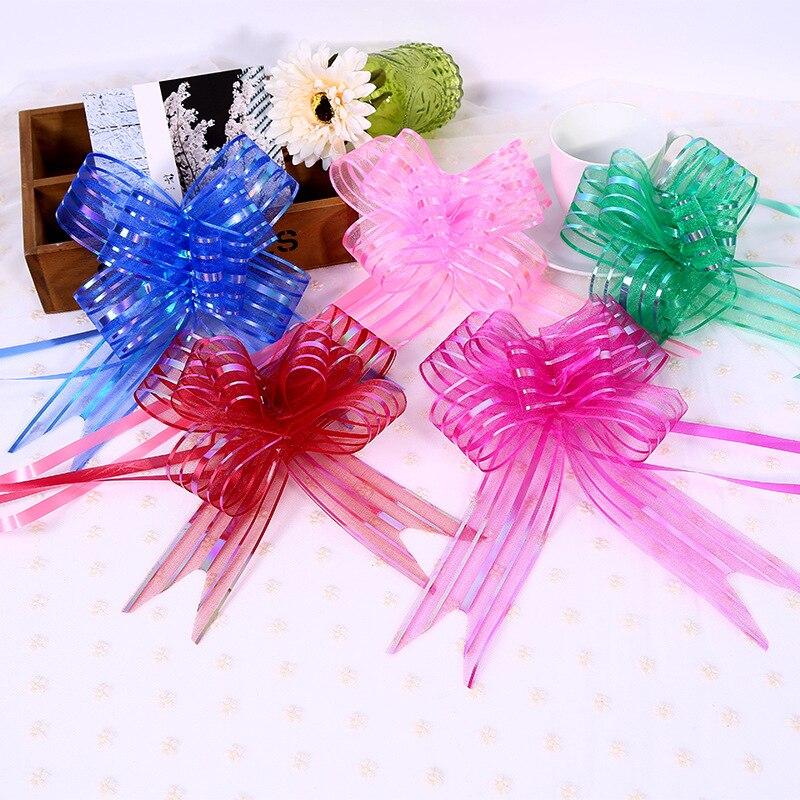 10pcs/bag 3cm Width Size M Snow Yarn Pull Flower Ribbon Bows Bowknot Wedding Car Decoration Valentine's Day Party Birthday Decor