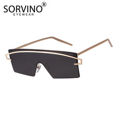 8d5fecf65b SORVINO Futuristic Rimless Shield Sunglasses 2018 Men Women 90s Designer  Gold Frameless Rectangle Mirror Sun Glasses Shades SP34