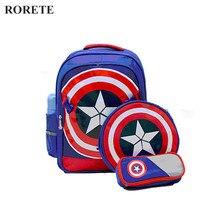 RORETE 3 STÜCKE Captain America Kinder Schultaschen für jungen Reise kind rucksack schöne kinder rucksäcke kinder mochila escolar
