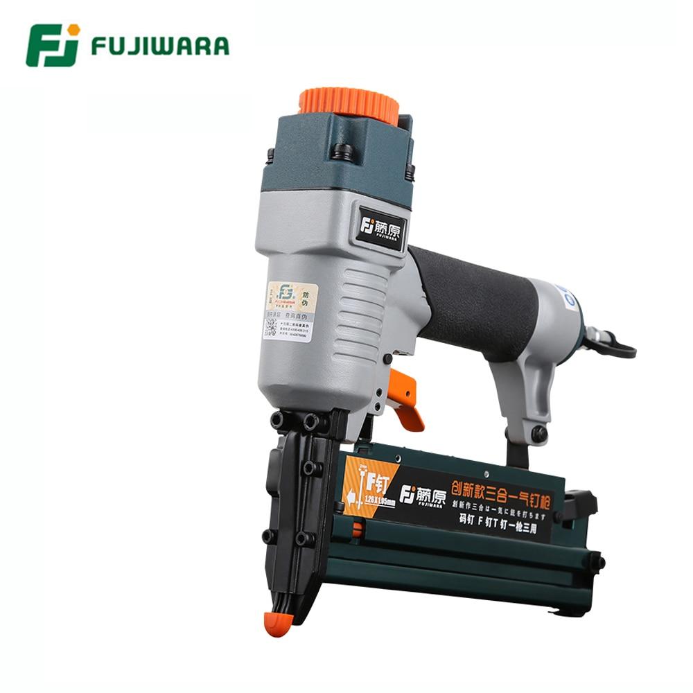 FUJIWARA 3-in-1 Carpenter Pneumatic Nail Gun Woodworking Air Stapler F10-F50 T20-T50 440K Nails Home DIY Carpentry Decoration