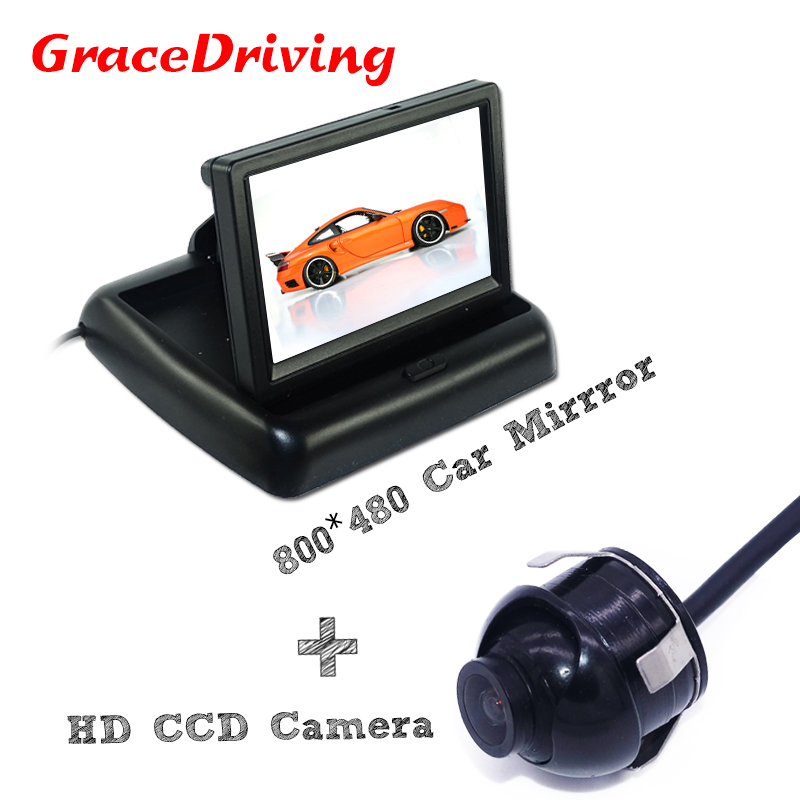 Auto HD Video 4.3 LCD Car Rearview Mirror Monitor Display + 360 Degree CCD Backup Reversing Rear View Camera Parking Assist yaopei auto car reversing rear view backup camera parking assist oem vcb n501b vcbn501b