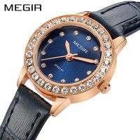 Megir Brand 8 MM Ultra Thin Quartz Watch Women Luxury Ladies Watches Genuine Leather Wristwatch for Woman Female Relogio Reloj