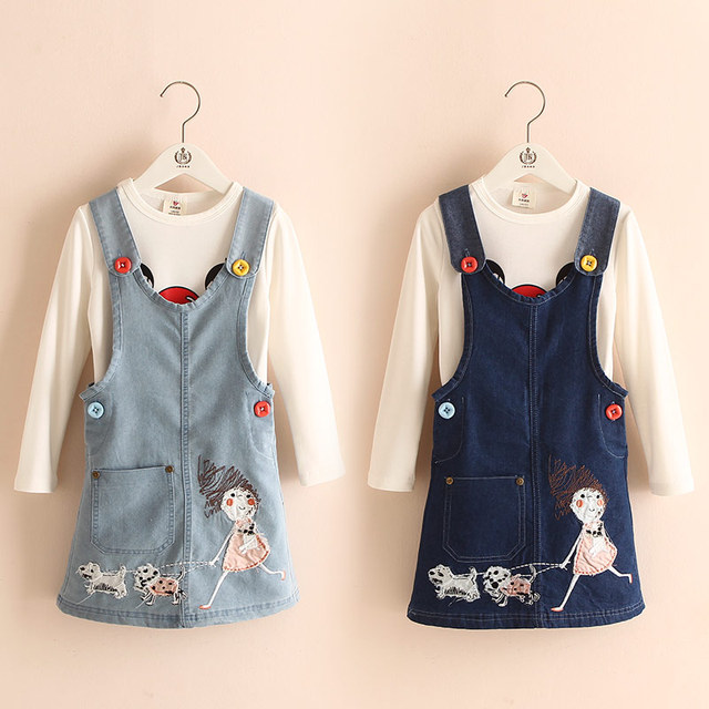 2016 Otoño Moda Coreana de Ropa Infantil Niñas Cartón Twinset Denim Falda + Camiseta de Manga Larga Envío Gratis