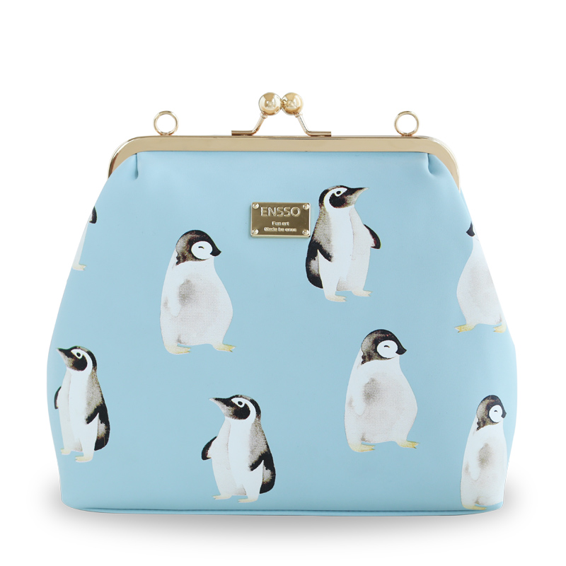 2016 Hot Lady Penguin Chains Metal Frame Fashion Shell Bags Leather PU Women's DayClutches Shoulder Messenger Crossbody Bags