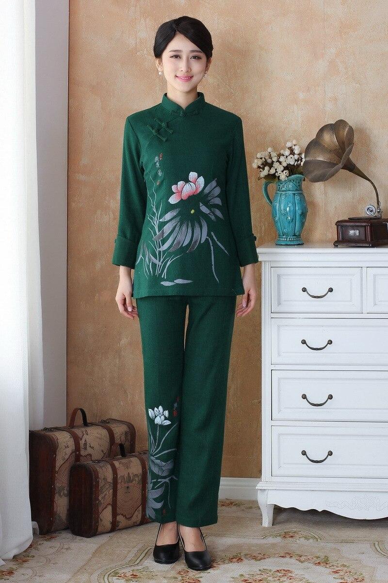 Fashion Light gray Women's clothing Linen Long Sleeve jacket pants ...