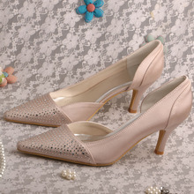 Wedopus Luxury Brand Bridesmaid Nude Shoes Valentine Pointed Toe with Crystals Mid Heel