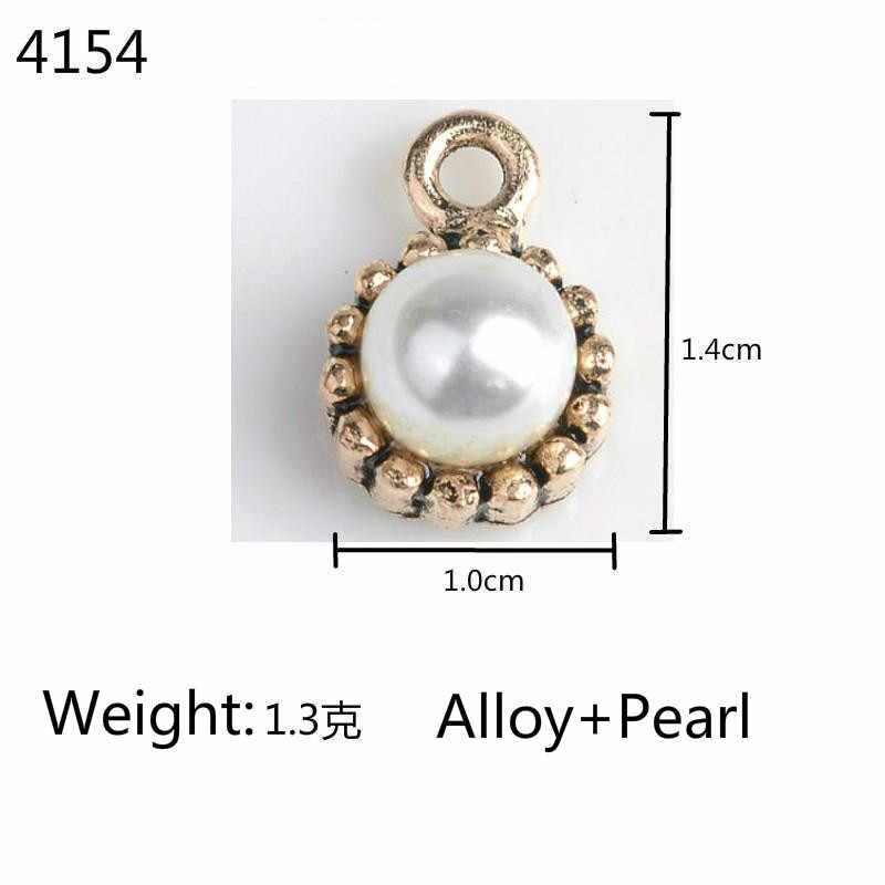 Emas Berlian Imitasi Liontin Mengambang Pesona untuk Wanita Anting-Anting Kalung Vintage Perhiasan Membuat Logam Air Drop Batu Alam Liontin