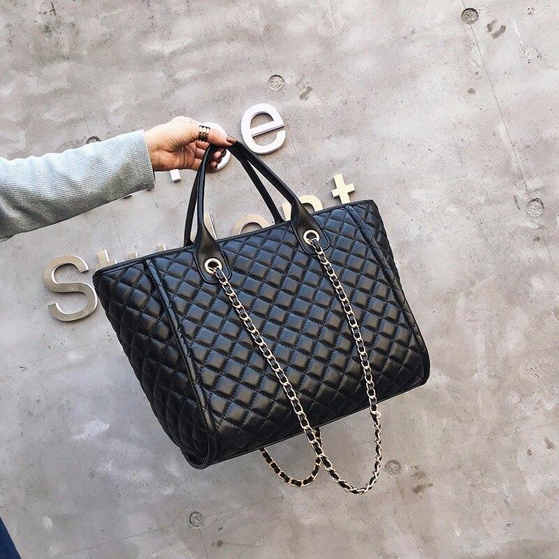 Sacs à main de luxe sacs pour femmes Designer Fourre-Tout 2019 décontracté PU En Cuir chaîne de treillis de diamants Grand sacs de postier pour femmes sac à bandoulière
