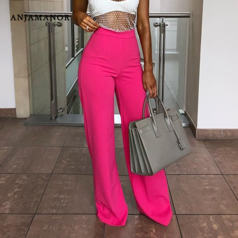ANJAMANOR Hot Pink High Waisted Loose   Wide     Leg     Pants   Women Casual Trousers Bellbottom 2019 Womens Palazzo   Pants   D38-AB57