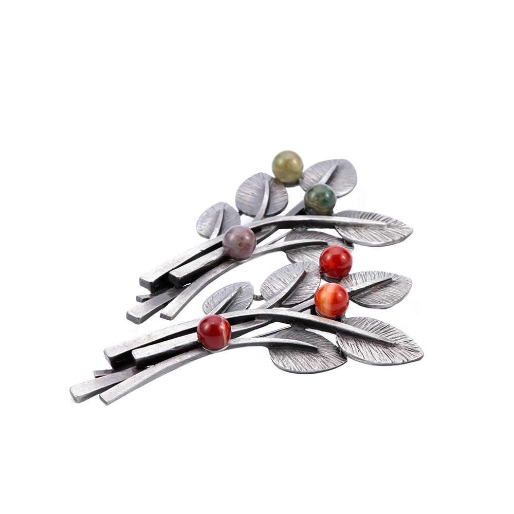 1 Pcs Warna-warni Unisex atau Merah Batu Alam Daun Bros Vintage Gaya Klasik Bros Syal Aksesoris Perhiasan Fashion