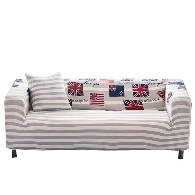 Graue Streifen Elastische L Form Sofa Abdeckungen Für Wohnzimmer Universal  Ecksofa Hussen Polyester Abdeckung Für Couch