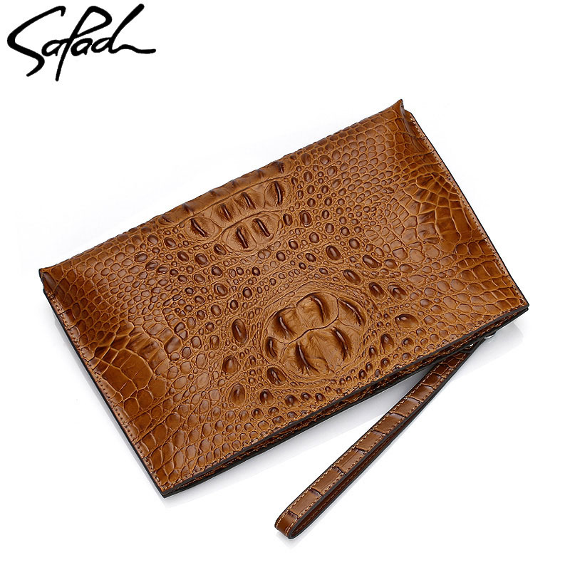 SAPAOL Fashion Clutch Bags Crocodile pattern Genuine Leather Men Clutches Vintage Envelope Bag Purse ipad Handbag Wallet