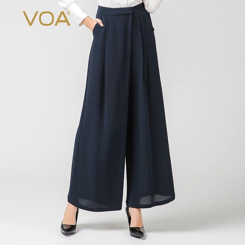 VOA 2018 Moda Outono Cintura Alta Azul Marinho Plus Size Lady Escritório Ampla Perna Calças de Seda Pesada Mulheres Formal Longo calças K7186