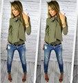 2016 Новый Осень Женщины Блузки Твердые 4-цветный Мода Полный Рукав Мода Шифон Блузка Сорочка Femme Blusas Бесплатная Доставка