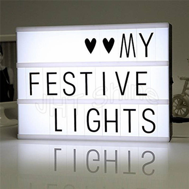 Battery Powered A4 Cinematic Cinema Plaque LED Light Up Letter Box Sign Lightbox for Table Party Wedding Christmas Decoration ...