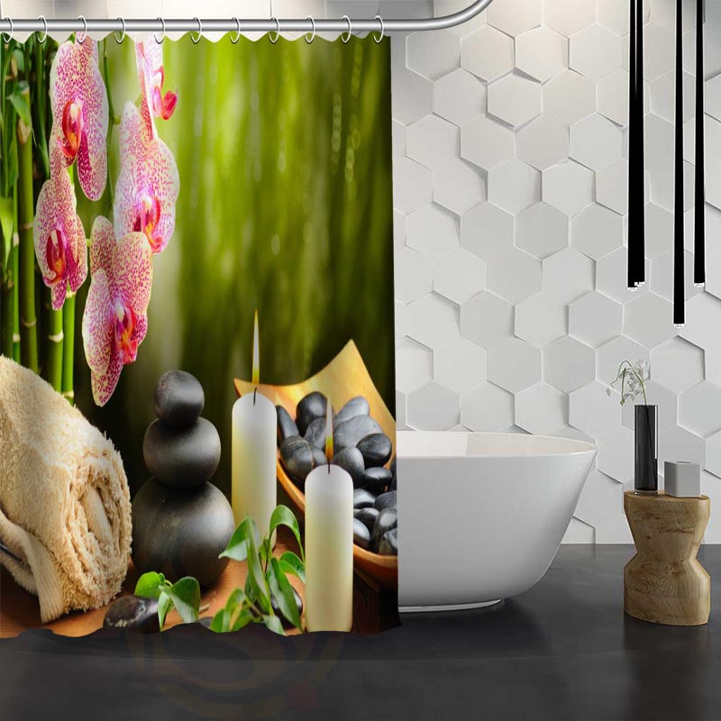 buy spa stones zen stone shower curtain pattern customized shower curtain bathroom fabric for bathroom decor hsq326029ns from reliable
