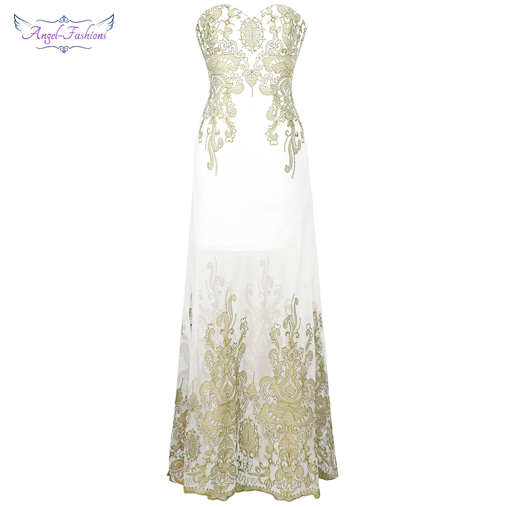 Angel-fashions Vintage 1920s Embroidery   Evening     Dresses   See Through Tulle Formal Party 189