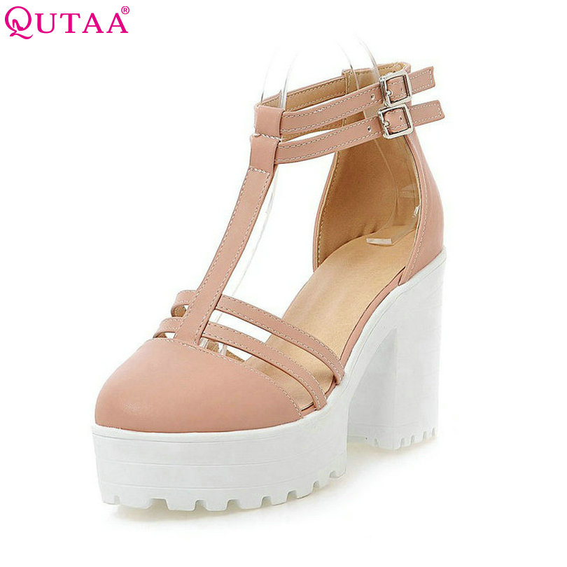 QUTAA T-strap Ladies Summer Shoes Square High Heel PU leather Buckle Woman Pumps Round Toe Ladies Wedding Shoe Size 34-43 стоимость