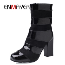ENMAYER 2018 New style women casual Square toe square heel shoes lady high heels Black and red Big Size 34-46 ZYL128