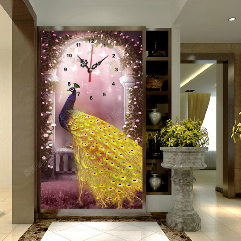 5D Diy Diamond Embroidery With Clock Painting Mosaic Art Needlework Painting Rhinestone Cross Stitch Full Drilling