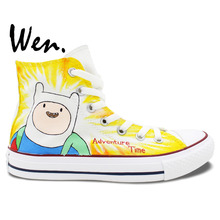 Wen Hand Painted Skateboard Sneakers Design Custom Animation Adventure Time Men Women's High Top Outdoor Sports Canvas Shoes
