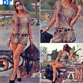 2014 New Women Casual Suits Blusas Femininas Sexy Leopard Casual Women Sets T Shirt + Shorts Plus Size 2 Pieces Set With Belt