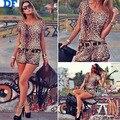 2014 Novas Mulheres Ternos Casuais Blusas Femininas Sexy Leopardo Mulheres Casuais define T Shirt + Shorts Plus Size 2 Peças Conjunto Com cinto