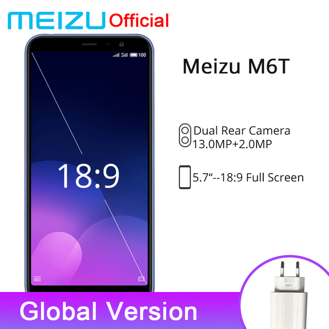 Official Meizu M6T 2GB RAM 16GB ROM Global Version Mobile Phone MTK6750 Octa Core 5.7