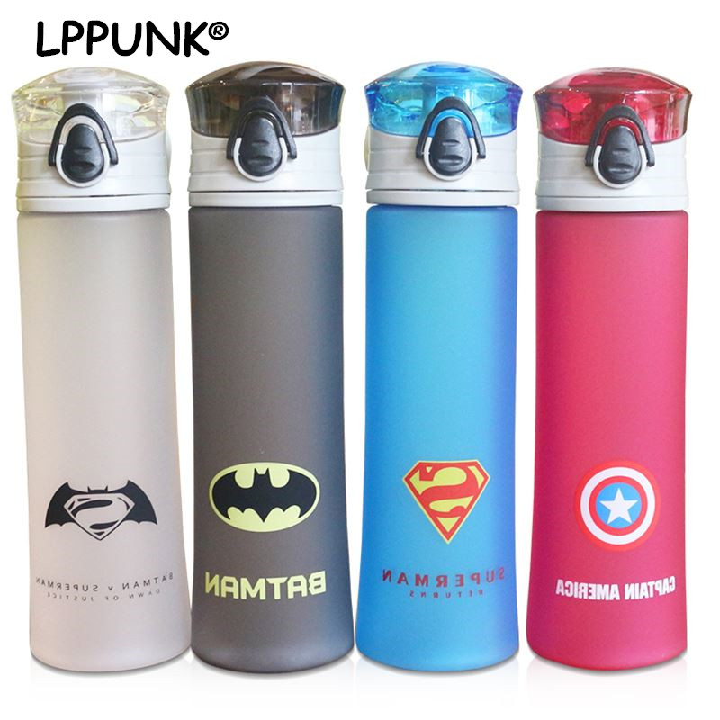 все цены на Hot sale bpa free 450ml Creative plastic my water portable Cold drink hero kettle fruit juice Frosted league bottle pop-up lid
