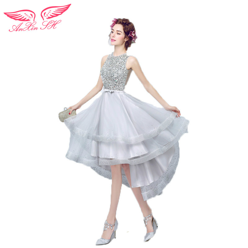 AnXin SH Silver gray luxury diamonds before the short paragraph after the bride evening dress toast evening dress 3301