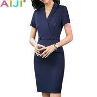 Summer Formal Work Wear Dress Female OL Fashion Elegant Plus Size Slim Sexy V Neck Navy