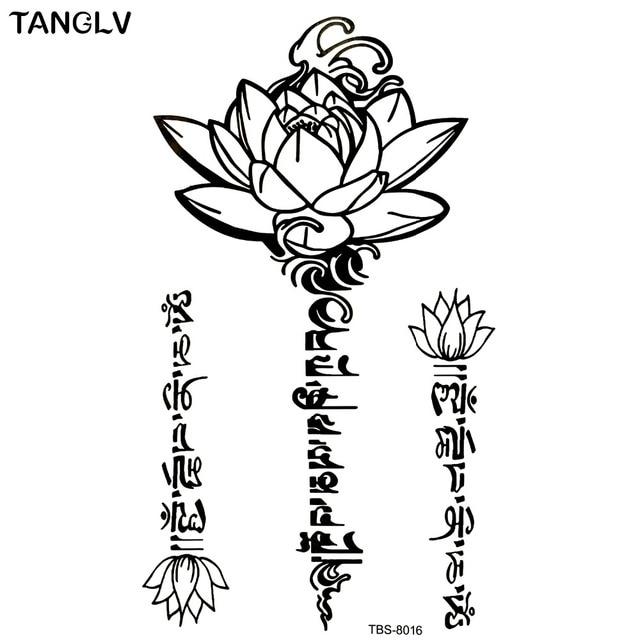 Us 118 Czarny Wodoodporny Kwiat Lotosu Naklejki Kobiety Kwiat Lotosu Tatuaż Tymczasowy Naklejki Z Tatuażami Tymczasowe Body Art Wodoodporny Tatuaż