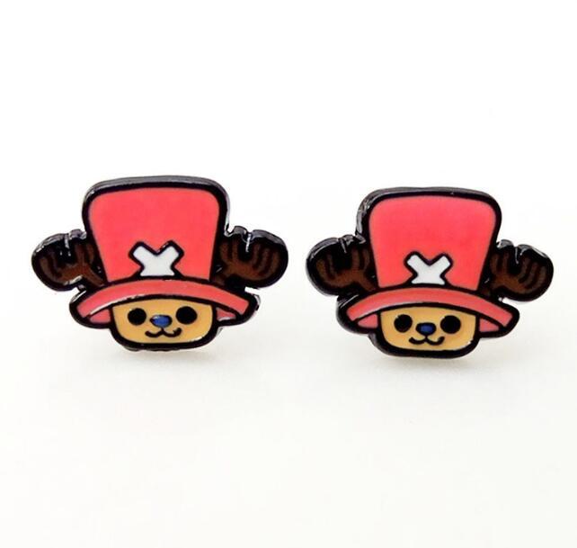 one piece luffy chopper Personality Asymmetric Small Earrings unisex ear stud Ear Ring earring anime