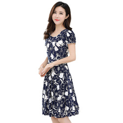 2019 new Plus Size Summer Slim Thin Sexy Short Sleeve Dress Lady Print Floral Dress women clothes 3