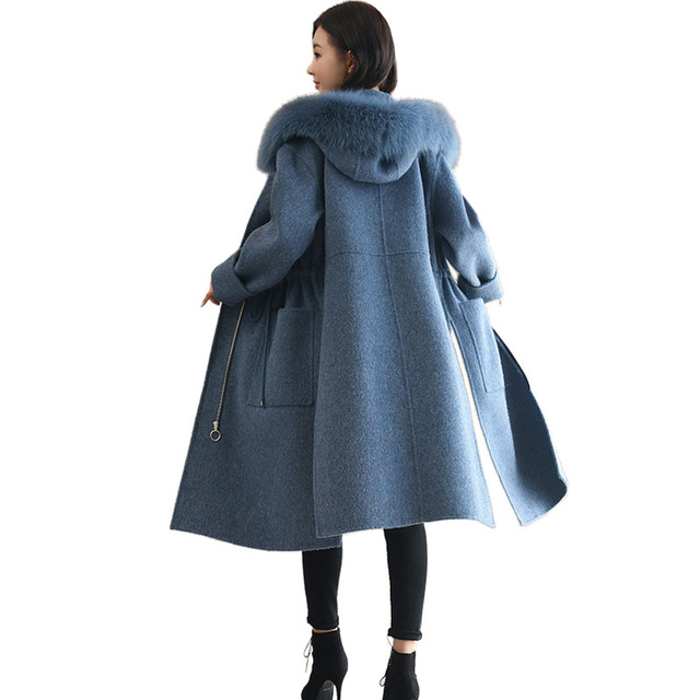 NEW Winter Wool Coat Women Fashion Adjustable Waist Long Parka Overcoat Manteau Femme Hooded Fur Collar Woolen Coat Jacket C3823 1