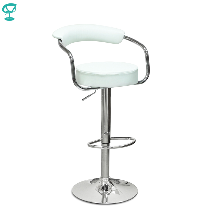 94131 Barneo N-91 Leather Kitchen Breakfast Bar Stool Swivel Bar Chair White Color Free Shipping In Russia
