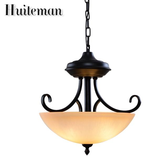 Huiteman Gold Chandelier Lighting Modern Simple Black Glass Lampshade Lamps For Loft Stairwell Kitchen Bedroom Led