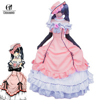 ROLECOS Ciel Phantomhive Cosplay Anime Victorian Women Dress Medieval Ball Gown Costume Gothic Lolita Black Butler Cosplay Hat