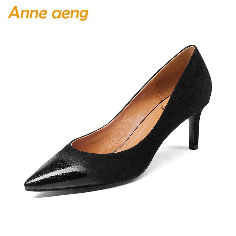 3510a5f2b246 Haute Talons Porc Bout Pointu Peau Chaussures Dames De Nouveau Véritable  Printemps Sexy Femmes Noir Cuir automne ...