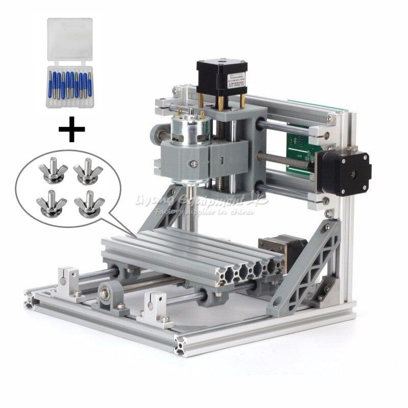 1610 bricolage mini CNC routeur 500 mw laser machine de gravure GRBL contrôle avec 10 pièces forets