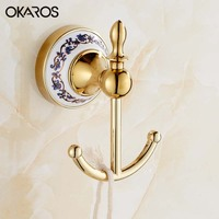 OKAROS Robe Hook Cloth Hook Chrome Gold Stainless Steel Towel Hook Rack Coat Hook Decorative Wall Hanger Bathroom Accessories