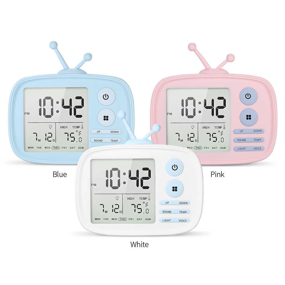 USB Перезаряжаемые ТВ будильник Звук-активированный ЖК-дисплей время/Температура/дата/неделя Дисплей будильник розовый /белый/синий