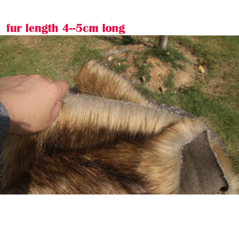 Nice Faux Fur Fabric Immitate Wolf Fur 4-5MM Long Hairy Soft Brown Plush Fur Fabric DIY Fur Collar Clothing Decorative Materials