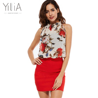 Yilia Summer 2017 Rose Floral Chiffon Dress Women Dresses Vintage Bodycon Vestido Sexy Sleeveless Halter Red